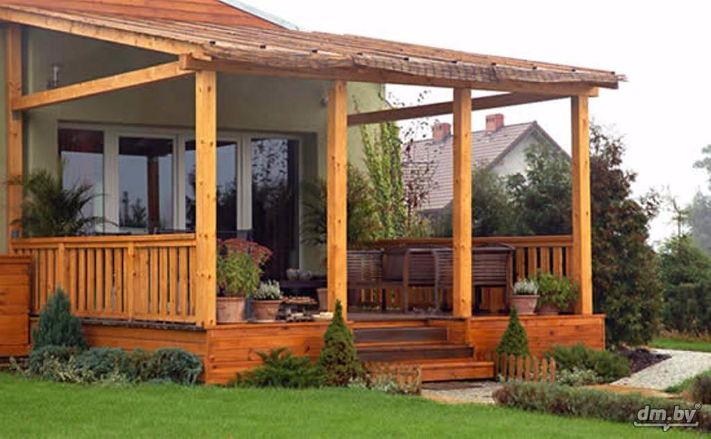 Крыльцо-веранда к деревянному дому из дерева